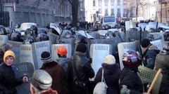 Maidan. Crowds of protesters fighting with police. Kiev 16.03.2014 - stock footage