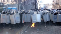 Crowds of protesters throwing Molotov cocktails at police. Kiev 16.03.2014 - stock footage