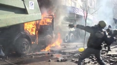 Protesters throw Molotov cocktails. burning barricades.  Kiev. 16.03.2014 Stock Footage