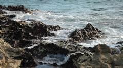 Waves crash against Bimini coast Stock Footage