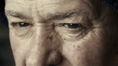 Sad eyes: old man portrait, depression, loneliness, sadness, elderly man's eye Stock Footage