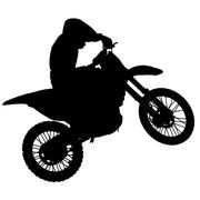 Motocross - silhouette with colorful rainbow in the sky - stock illustration