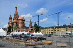 Moscow everyday and festive. Preparing to celebration of the anniversary of G Stock Photos