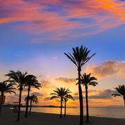 Majorca El Arenal sArenal beach sunset near Palma - stock photo