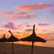 Majorca El Arenal sArenal beach sunset near Palma Stock Photos