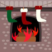Waiting for gifts - socks hanging front of a fireplace - stock illustration