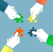 Businessman assembling jigsaw puzzle Stock Illustration