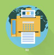 Fax icon in flat design - stock illustration