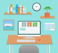 Modern office interior with designer desktop - stock illustration
