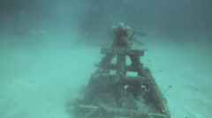 Pyramid artificial reef structures underwater Stock Footage