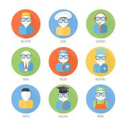 Set of faces icons of occupation in flat style - stock illustration