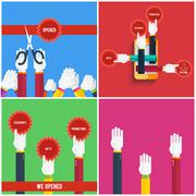 Stock Illustration of Grand opening - cutting red ribbon