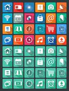 Flat icons for web and mobile applications Stock Illustration