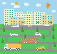 City town landscape life - stock illustration