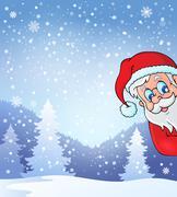 Theme with lurking Santa Claus - stock illustration