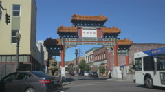 The Chinatown Gate in Portland, Oregon Stock Footage