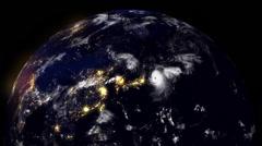 Hurricane Hitting At Night Stock Footage