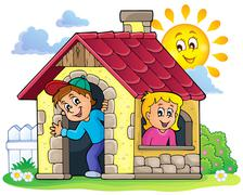Stock Illustration of Children playing in small house theme - eps10 vector illustration.