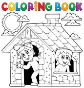 Stock Illustration of Coloring book children playing in house - eps10 vector illustration.
