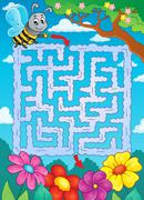 Maze 2 with bee and flowers - eps10 vector illustration. Stock Illustration