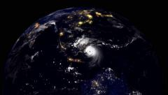 Hurricane Hitting Indonesia At Night Stock Footage