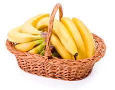 Bananas in basket Stock Photos