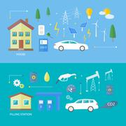 Electric cars and petrol car Stock Illustration