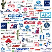 Stock Illustration of Auto Insurance Logo Compilation