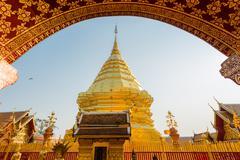 Golden arch pagoda at wat pratat doi suthep, Chiang Mai Stock Photos