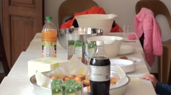 Refreshments table- - stock footage