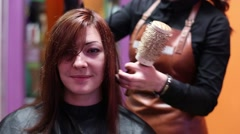Drying Hair With Hair Dryer Hair Straightening Stock Footage