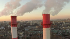 Aerial of a coal fire power station.close up Stock Footage