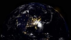 Hurricane Hitting South Carolina / USA At Night Stock Footage