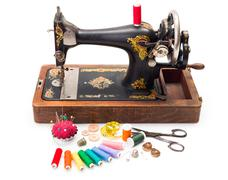 Old sewing machine and accessories Stock Photos