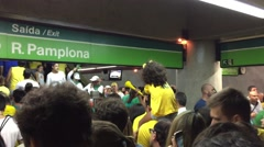 Protesters arriving by Metro against the corruption of Brazilian government Stock Footage