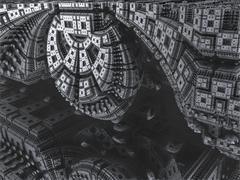 Computer rendered virtual scenery - stock illustration