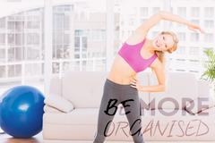Composite image of blonde smiling at camera while stretching - stock illustration