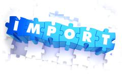 Import - Word in Blue Color on Volume  Puzzle Stock Illustration