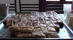 Tray with Turkish pie burek- Stock Footage
