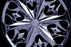 Detail photo of a car rim Stock Photos