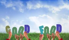 Composite image of hands holding up good food - stock illustration