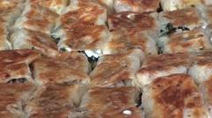 Turkish pie burek close up Stock Footage