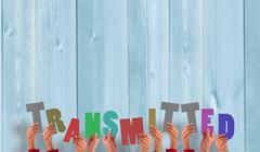 Composite image of hands holding up transmitted - stock photo
