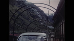 View from Automobile Aboard a Train in Switzerland 1957 - 3 - stock footage