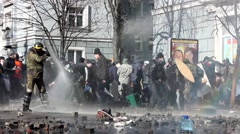 Maidan. Police use water cannon.  Kiev. 16.03.2014 Stock Footage