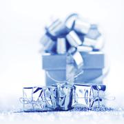 Silver holiday gifts Stock Photos