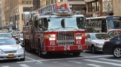 Fire Department of New York FDNY responing to a call - stock footage