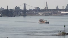 East River, New York City maritime traffic Stock Footage