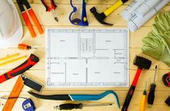Planning of repair of the house. House construction. Drawings for building an Kuvituskuvat