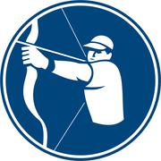 Archer Bow Arrow Circle Icon. Stock Illustration